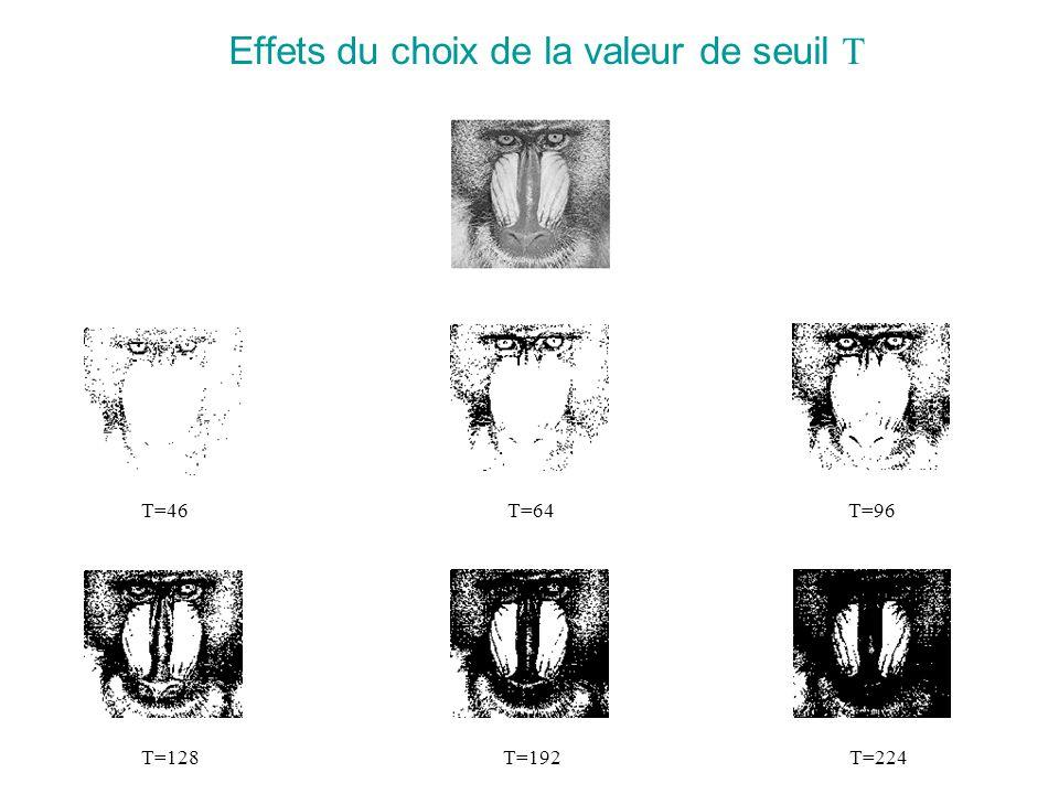 Effets du choix de la valeur de seuil T T=46 T=64T=96T=128 T=192T=224