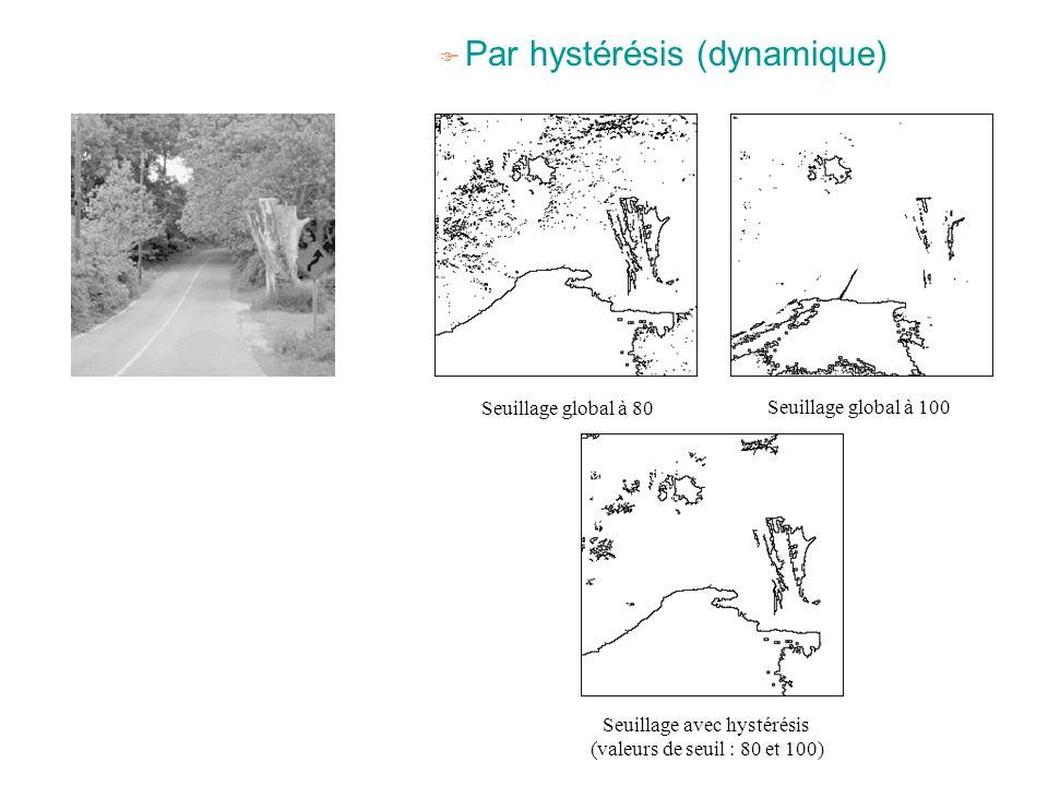 F Par hystérésis (dynamique) Seuillage global à 80 Seuillage global à 100 Seuillage avec hystérésis (valeurs de seuil : 80 et 100)