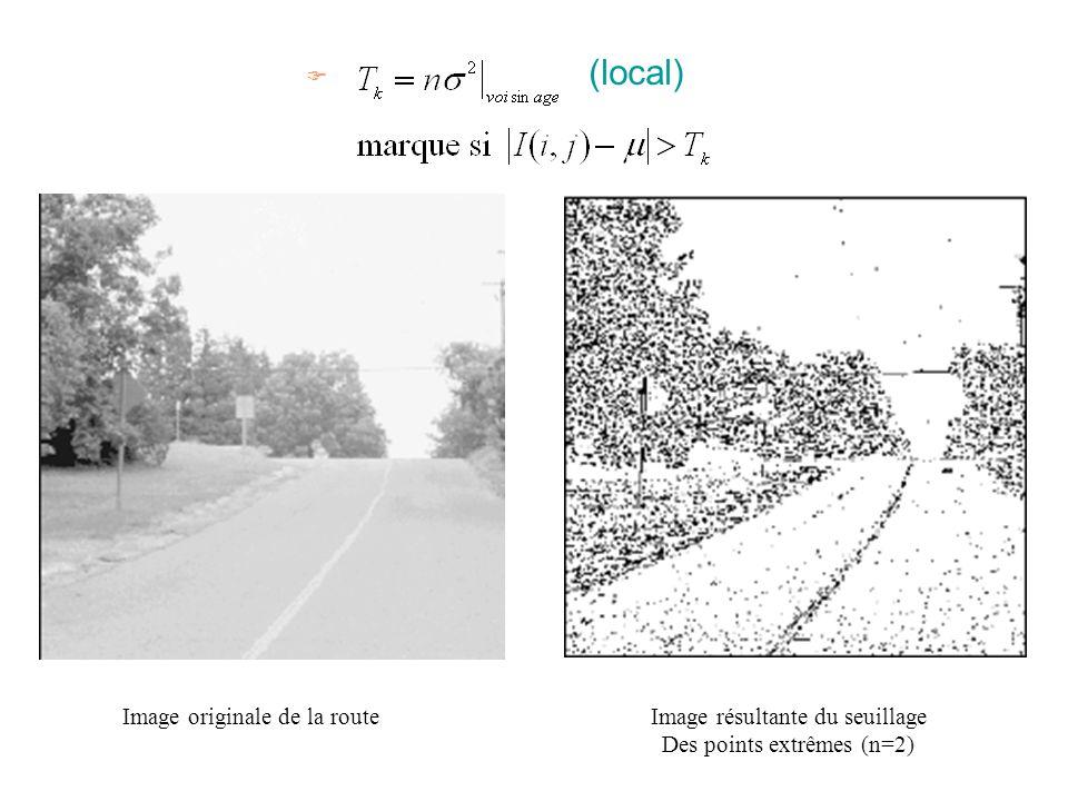 F (local) Image originale de la routeImage résultante du seuillage Des points extrêmes (n=2)