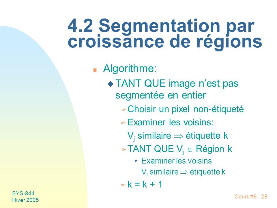 SYS-844 Hiver 2005 Cours #9 - 28 4.2 Segmentation par croissance de régions n Algorithme: u TANT QUE image nest pas segmentée en entier F Choisir un pixel non-étiqueté F Examiner les voisins: V j similaire étiquette k F TANT QUE V j Région k Examiner les voisins V i similaire étiquette k F k = k + 1