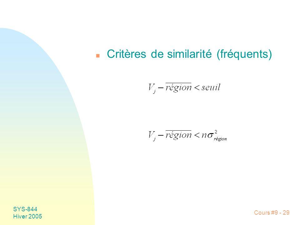 SYS-844 Hiver 2005 Cours #9 - 29 n Critères de similarité (fréquents)