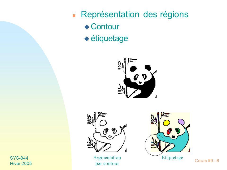 SYS-844 Hiver 2005 Cours #9 - 6 n Représentation des régions u Contour u étiquetage Segmentation par contour Étiquetage