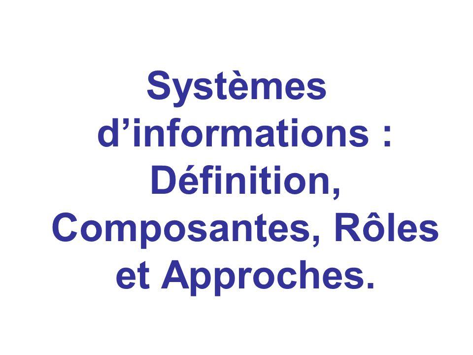 Systèmes dinformations : Définition, Composantes, Rôles et Approches.