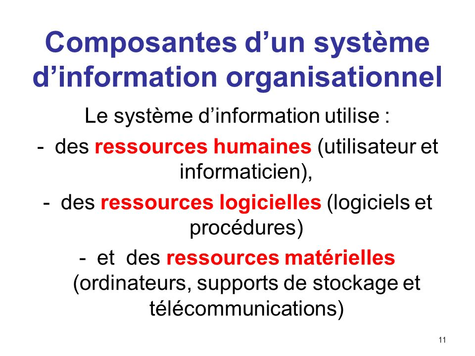 11 Composantes dun système dinformation organisationnel Le système dinformation utilise : -des ressources humaines (utilisateur et informaticien), -de
