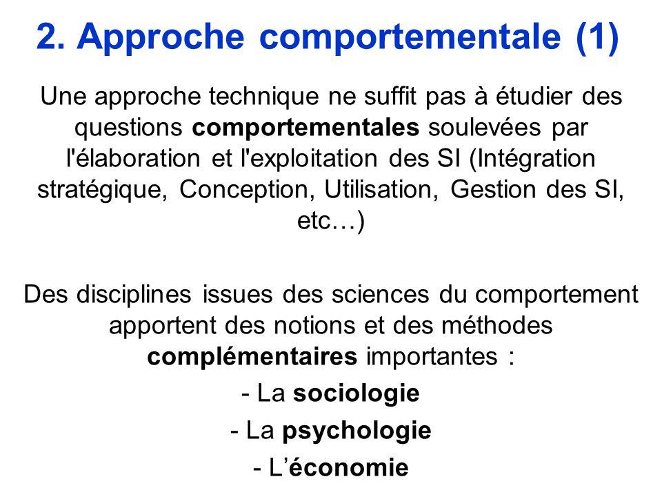 2. Approche comportementale (1) Une approche technique ne suffit pas à étudier des questions comportementales soulevées par l'élaboration et l'exploit