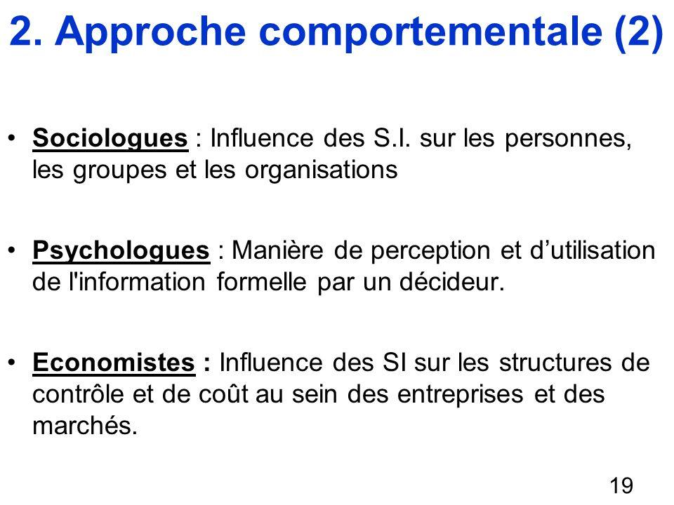 Sociologues : Influence des S.I. sur les personnes, les groupes et les organisations Psychologues : Manière de perception et dutilisation de l'informa