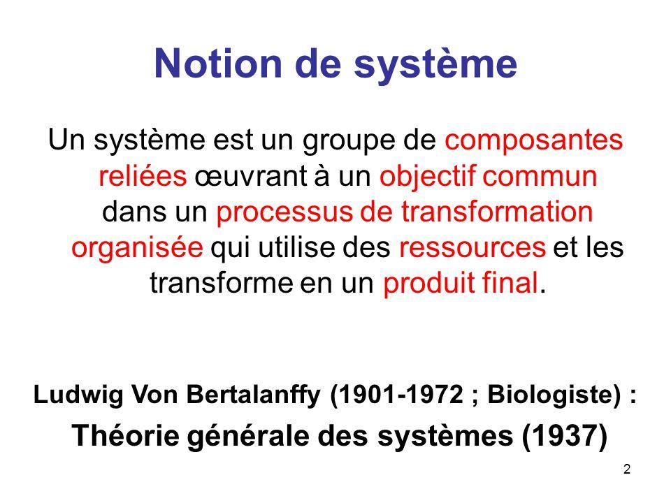 2 Notion de système Un système est un groupe de composantes reliées œuvrant à un objectif commun dans un processus de transformation organisée qui uti