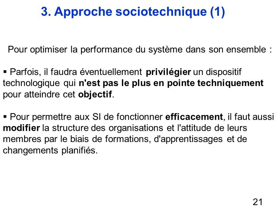 3. Approche sociotechnique (1) 21 Pour optimiser la performance du système dans son ensemble : Parfois, il faudra éventuellement privilégier un dispos