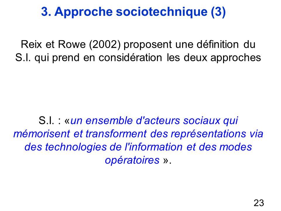 3. Approche sociotechnique (3) 23 Reix et Rowe (2002) proposent une définition du S.I. qui prend en considération les deux approches S.I. : «un ensemb