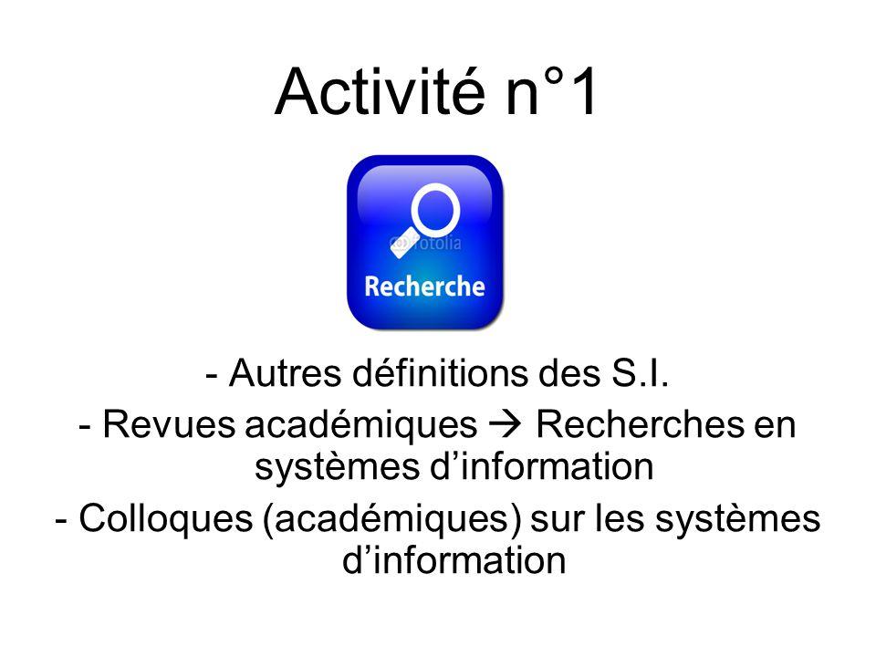 - Autres définitions des S.I. - Revues académiques Recherches en systèmes dinformation - Colloques (académiques) sur les systèmes dinformation Activit