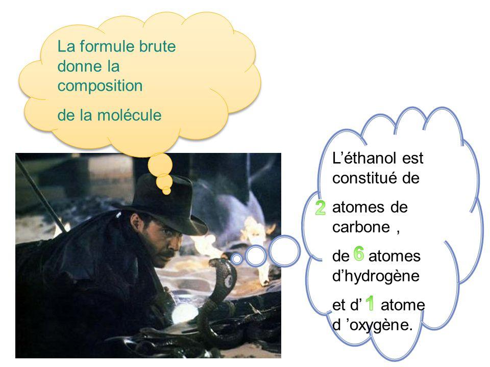 Léthanol est constitué de atomes de carbone, de atomes dhydrogène et d atome d oxygène. La formule brute donne la composition de la molécule La formul