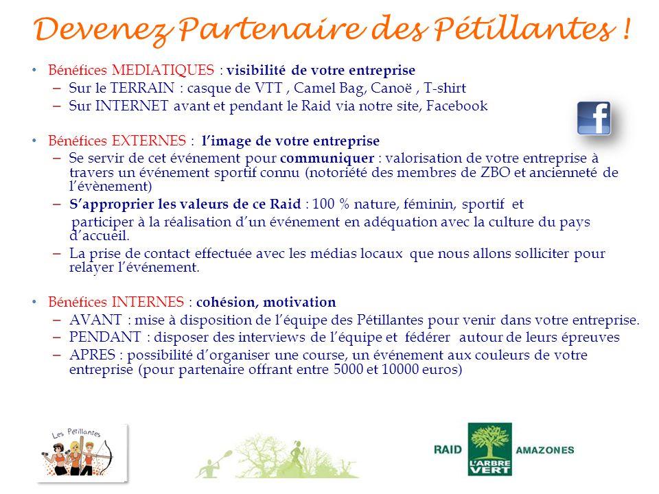 Devenez Partenaire des Pétillantes ! Bénéfices MEDIATIQUES : visibilité de votre entreprise – Sur le TERRAIN : casque de VTT, Camel Bag, Canoë, T-shir