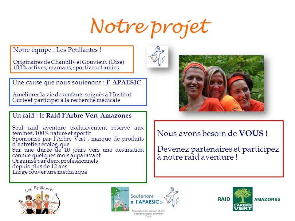 Notre projet Un raid : le Raid lArbre Vert Amazones Seul raid aventure exclusivement réservé aux femmes, 100% nature et sportif Sponsorisé par lArbre
