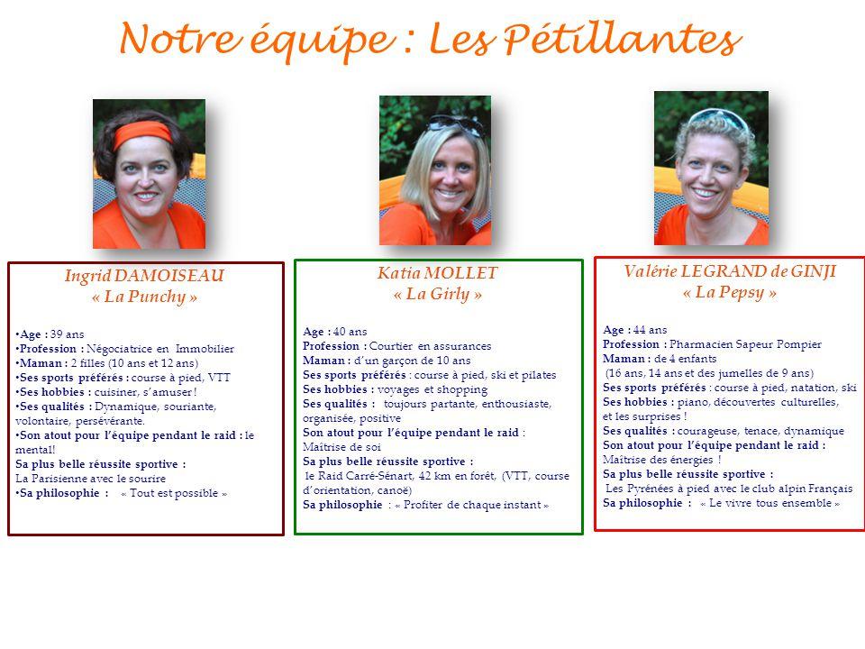 Notre équipe : Les Pétillantes Valérie LEGRAND de GINJI « La Pepsy » Age : 44 ans Profession : Pharmacien Sapeur Pompier Maman : de 4 enfants (16 ans,