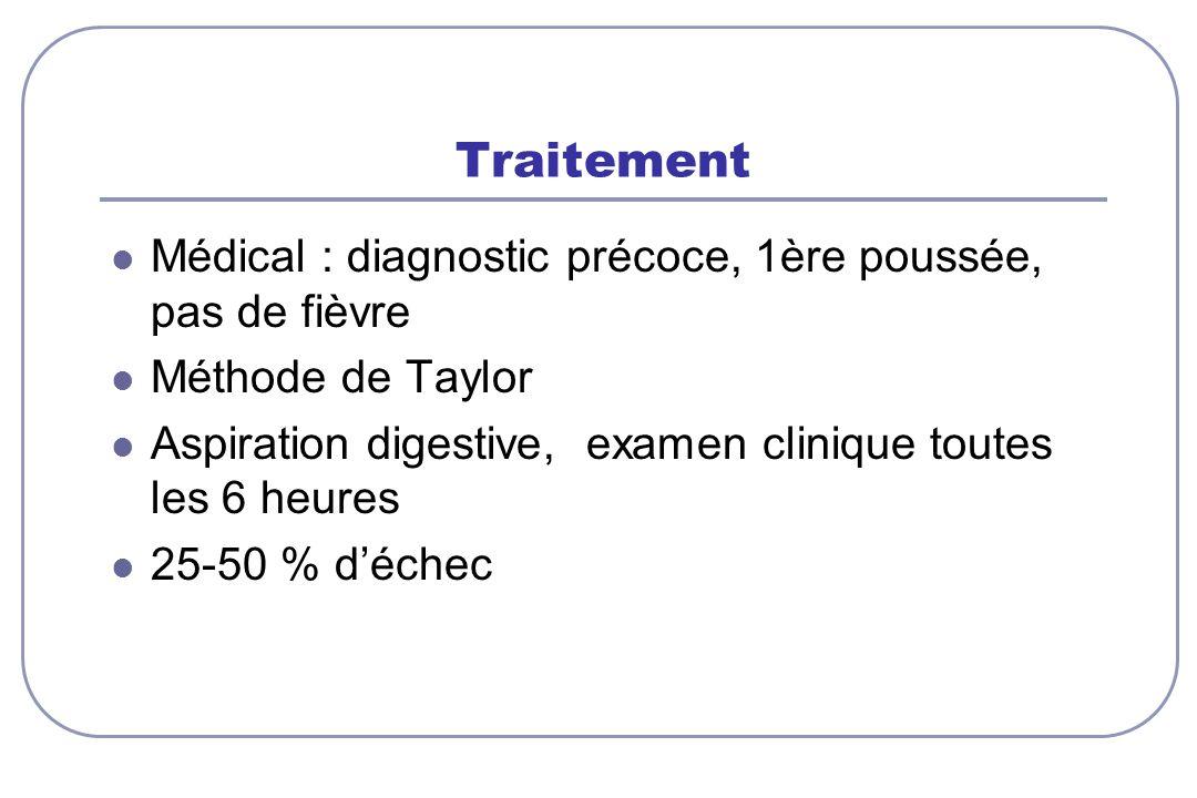 Traitement Médical : diagnostic précoce, 1ère poussée, pas de fièvre Méthode de Taylor Aspiration digestive, examen clinique toutes les 6 heures 25-50 % déchec