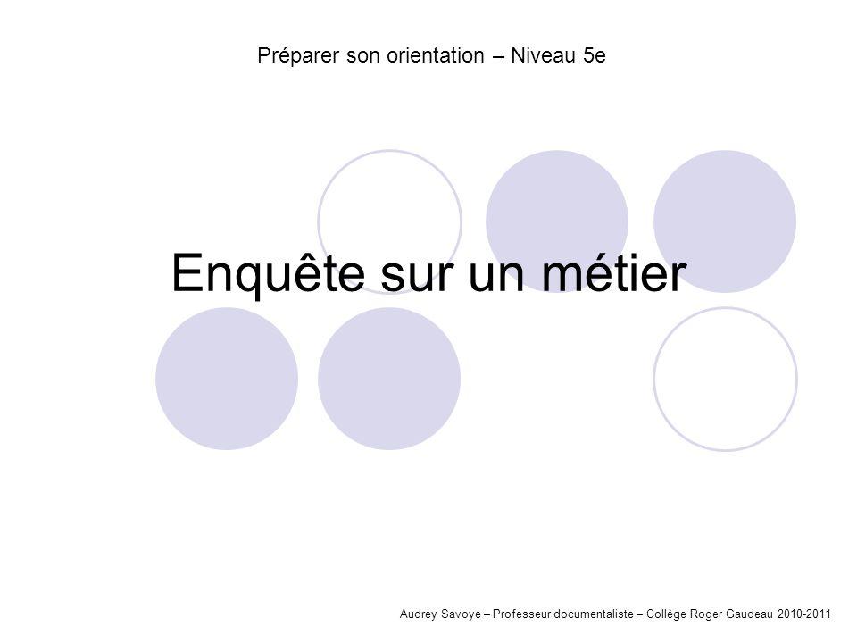 Enquête sur un métier Audrey Savoye – Professeur documentaliste – Collège Roger Gaudeau 2010-2011 Préparer son orientation – Niveau 5e