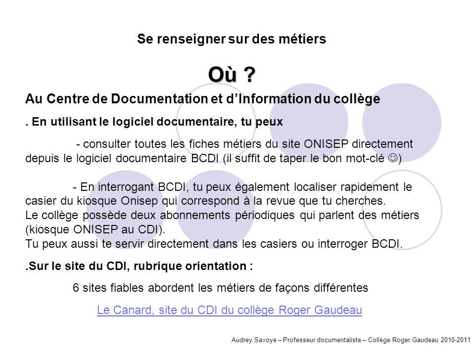 Audrey Savoye – Professeur documentaliste – Collège Roger Gaudeau 2010-2011 Au Centre de Documentation et dInformation du collège. En utilisant le log