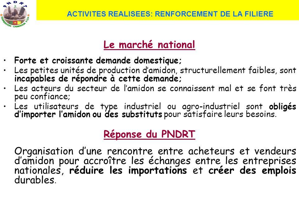 ACTIVITES REALISEES: RENFORCEMENT DE LA FILIERE Le marché national Forte et croissante demande domestique; Les petites unités de production damidon, s