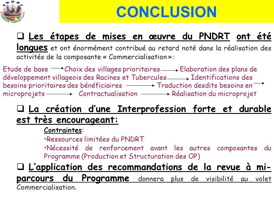 CONCLUSION Les étapes de mises en œuvre du PNDRT ont été longues et ont énormément contribué au retard noté dans la réalisation des activités de la co