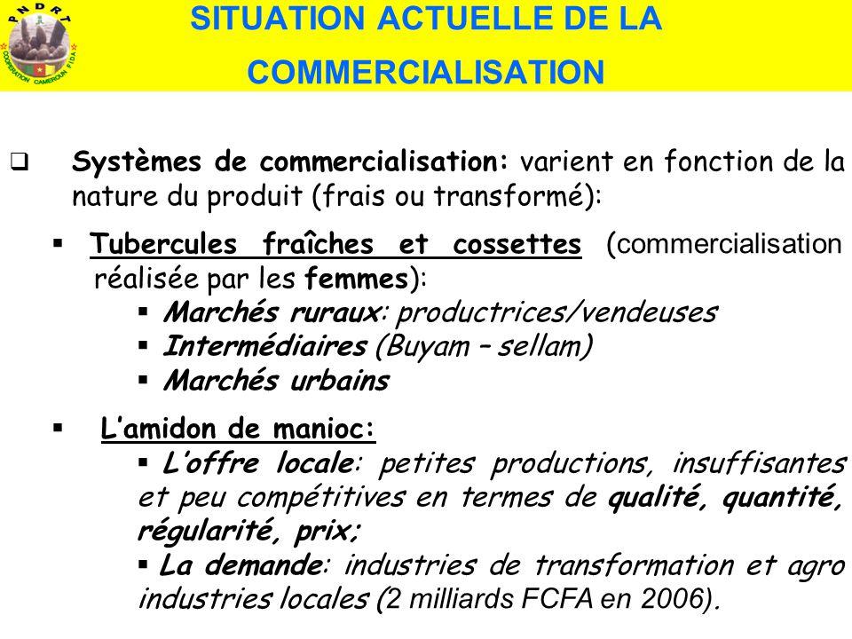 Systèmes de commercialisation: varient en fonction de la nature du produit (frais ou transformé): Tubercules fraîches et cossettes ( commercialisation