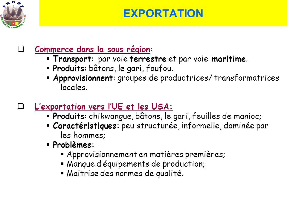 Commerce dans la sous région: Transport: par voie terrestre et par voie maritime. Produits: bâtons, le gari, foufou. Approvisionnent: groupes de produ