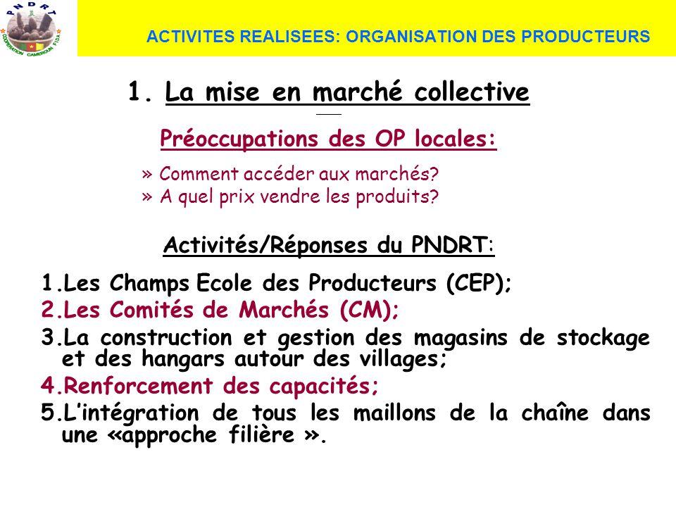 1. La mise en marché collective Préoccupations des OP locales: »Comment accéder aux marchés? »A quel prix vendre les produits? Activités/Réponses du P