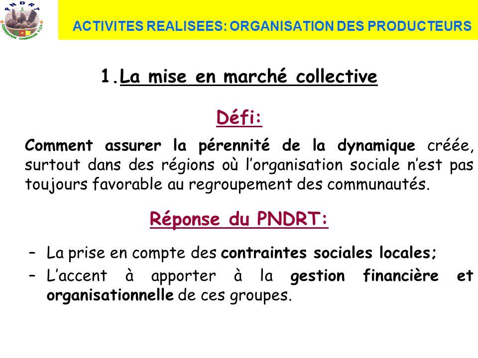 1.La mise en marché collective Défi: Comment assurer la pérennité de la dynamique créée, surtout dans des régions où lorganisation sociale nest pas to
