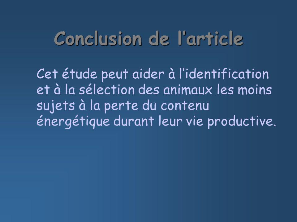 Conclusion de larticle Cet étude peut aider à lidentification et à la sélection des animaux les moins sujets à la perte du contenu énergétique durant leur vie productive.