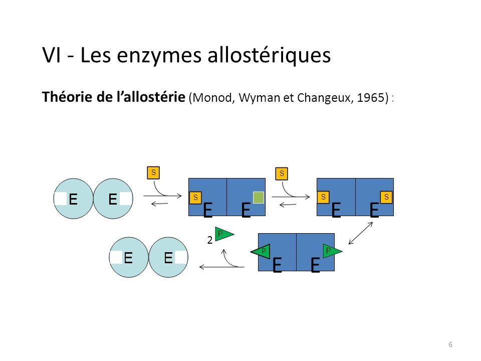 7 V - Définitions de lactivité Activité dune enzyme = vitesse de la réaction catalysée (quantité de produit formé ou substrat consommé par unité de temps).