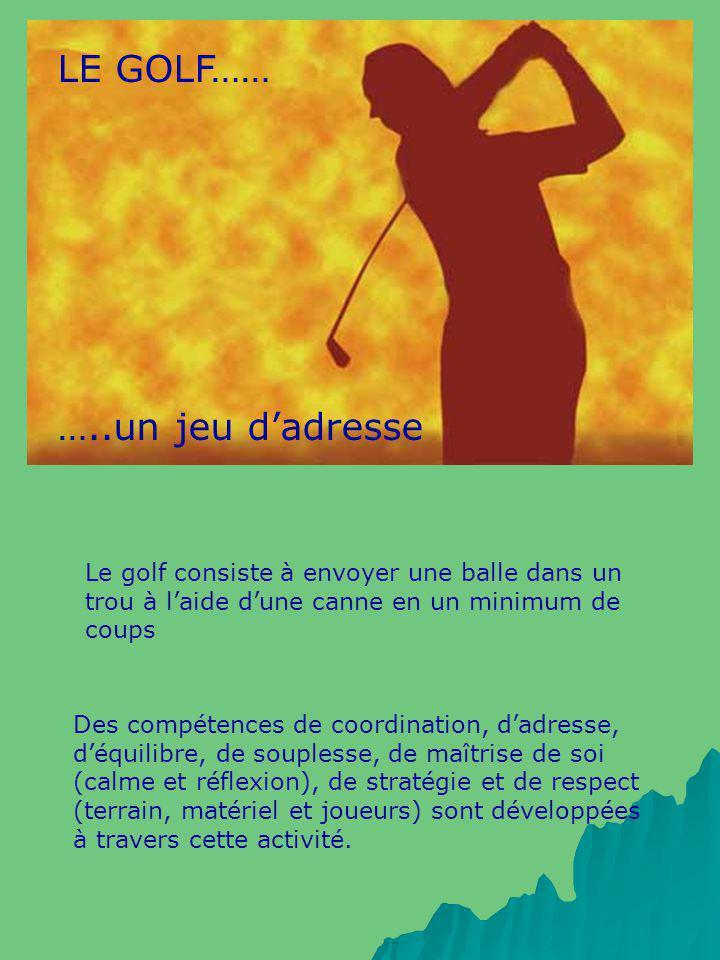 LE GOLF…… …..un jeu dadresse Le golf consiste à envoyer une balle dans un trou à laide dune canne en un minimum de coups Des compétences de coordinati