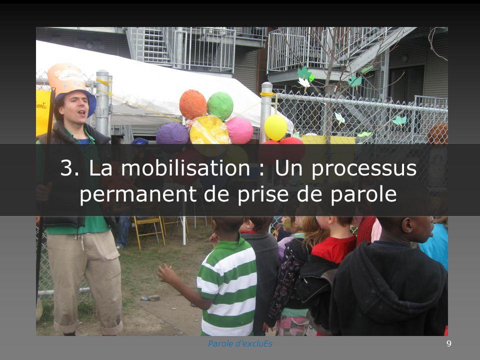 3. La mobilisation : Un processus permanent de prise de parole Parole d excluEs9