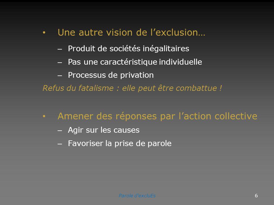 Une autre vision de lexclusion… – Produit de sociétés inégalitaires – Pas une caractéristique individuelle – Processus de privation Refus du fatalisme : elle peut être combattue .