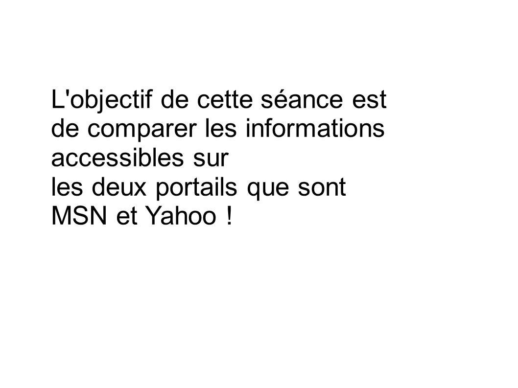 L objectif de cette séance est de comparer les informations accessibles sur les deux portails que sont MSN et Yahoo !
