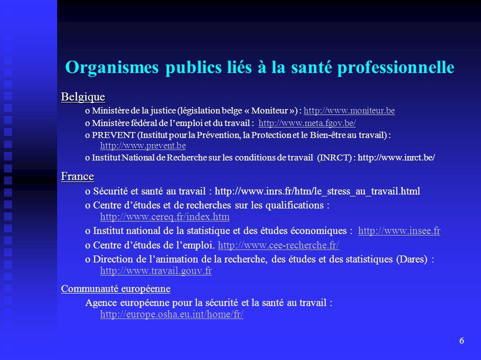 6 Organismes publics liés à la santé professionnelle Belgique o Ministère de la justice (législation belge « Moniteur ») : http://www.moniteur.behttp://www.moniteur.be o Ministère fédéral de lemploi et du travail : http://www.meta.fgov.be/http://www.meta.fgov.be/ o PREVENT (Institut pour la Prévention, la Protection et le Bien-être au travail) : http://www.prevent.be http://www.prevent.be o Institut National de Recherche sur les conditions de travail (INRCT) : http://www.inrct.be/France o Sécurité et santé au travail : http://www.inrs.fr/htm/le_stress_au_travail.html o Centre détudes et de recherches sur les qualifications : http://www.cereq.fr/index.htm http://www.cereq.fr/index.htm o Institut national de la statistique et des études économiques : http://www.insee.frhttp://www.insee.fr o Centre détudes de lemploi.