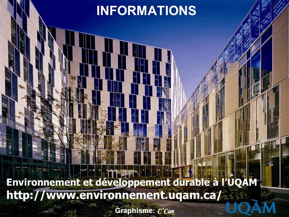 INFORMATIONS Environnement et développement durable à lUQAM http://www.environnement.uqam.ca/ Graphisme: CCan