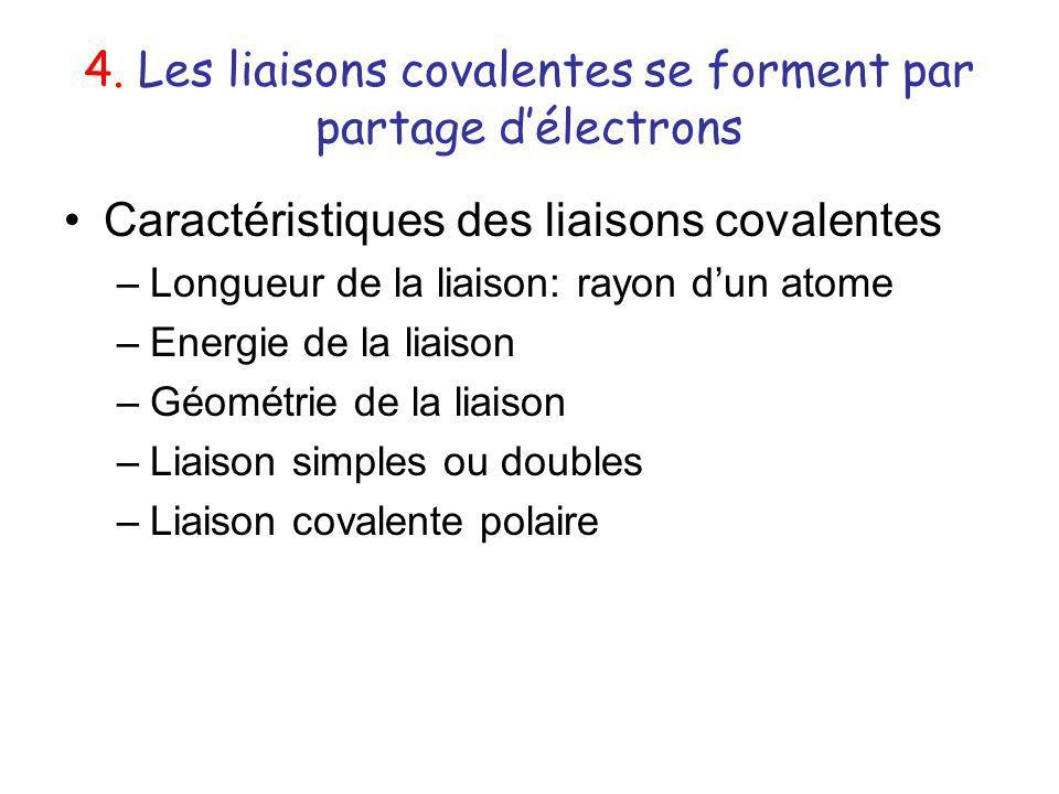 4. Les liaisons covalentes se forment par partage délectrons Caractéristiques des liaisons covalentes –Longueur de la liaison: rayon dun atome –Energi