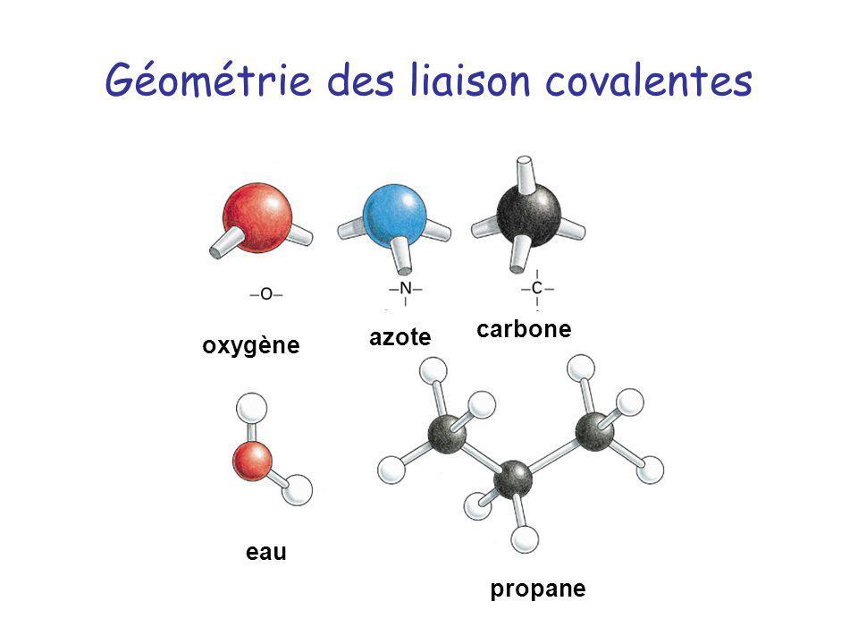 Géométrie des liaison covalentes oxygène azote carbone propane eau