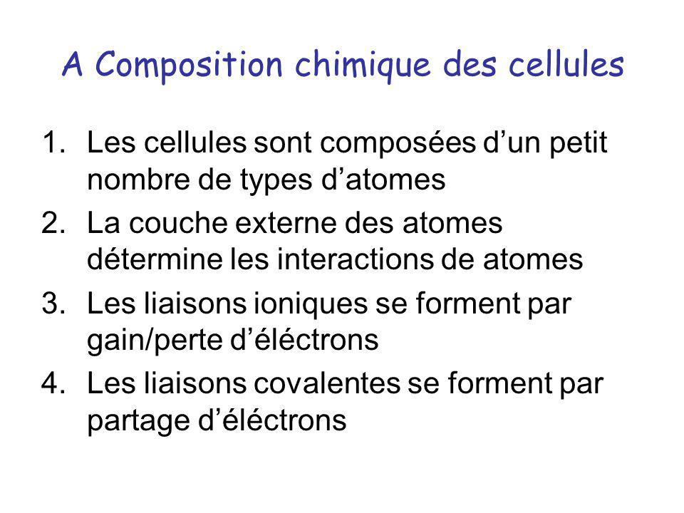 A Composition chimique des cellules 1.Les cellules sont composées dun petit nombre de types datomes 2.La couche externe des atomes détermine les inter