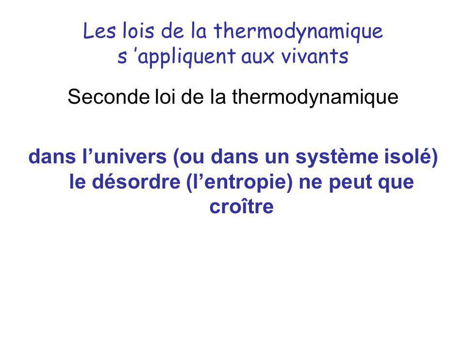 Les lois de la thermodynamique s appliquent aux vivants Seconde loi de la thermodynamique dans lunivers (ou dans un système isolé) le désordre (lentro
