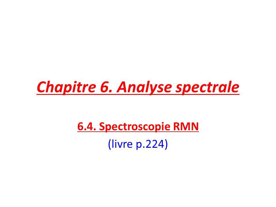 Chapitre 6. Analyse spectrale 6.4. Spectroscopie RMN (livre p.224)
