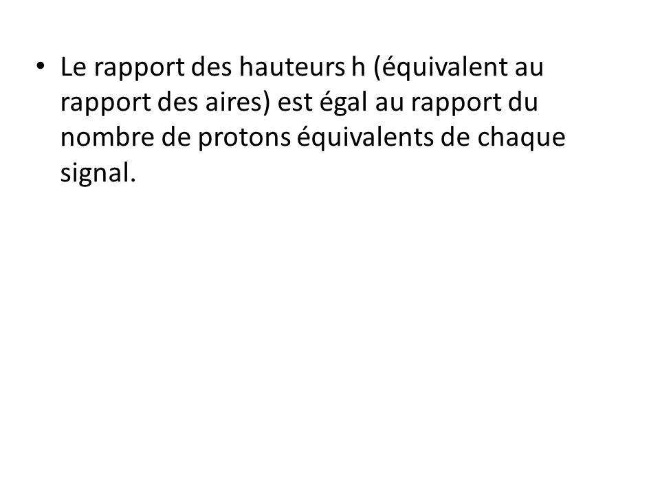 Le rapport des hauteurs h (équivalent au rapport des aires) est égal au rapport du nombre de protons équivalents de chaque signal.