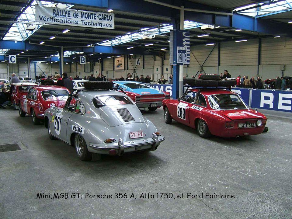 Mini;MGB GT; Porsche 356 A; Alfa 1750, et Ford Fairlaine