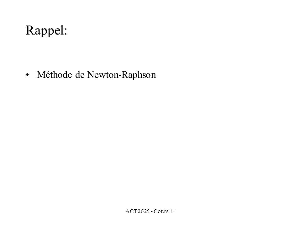 ACT2025 - Cours 11 Rappel: Méthode de Newton-Raphson
