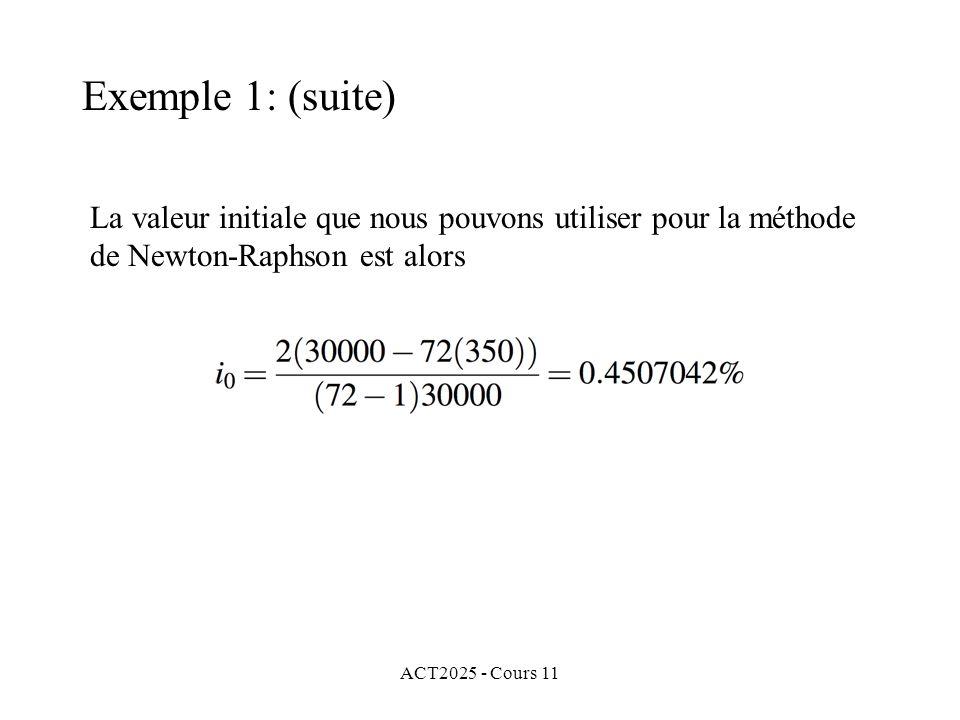 ACT2025 - Cours 11 La valeur initiale que nous pouvons utiliser pour la méthode de Newton-Raphson est alors Exemple 1: (suite)