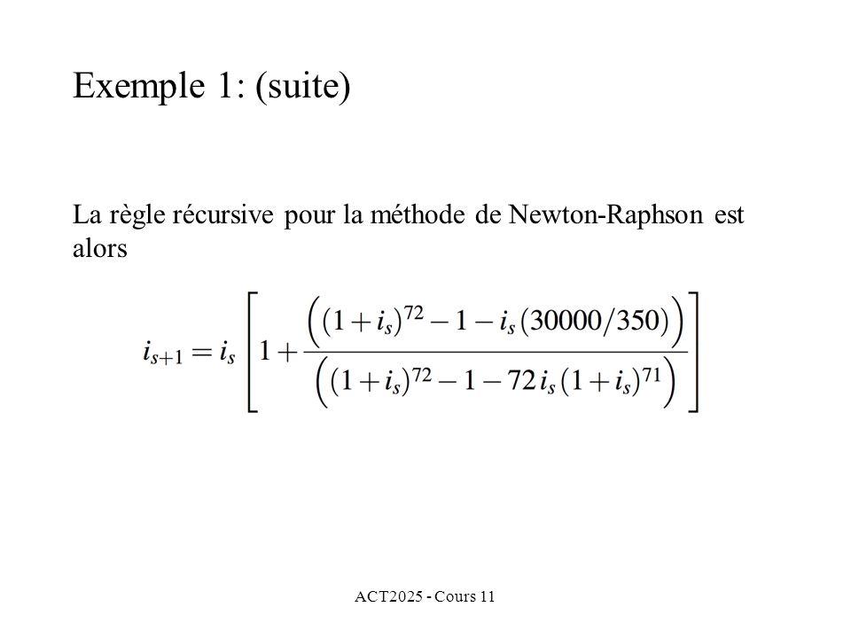 ACT2025 - Cours 11 La règle récursive pour la méthode de Newton-Raphson est alors Exemple 1: (suite)
