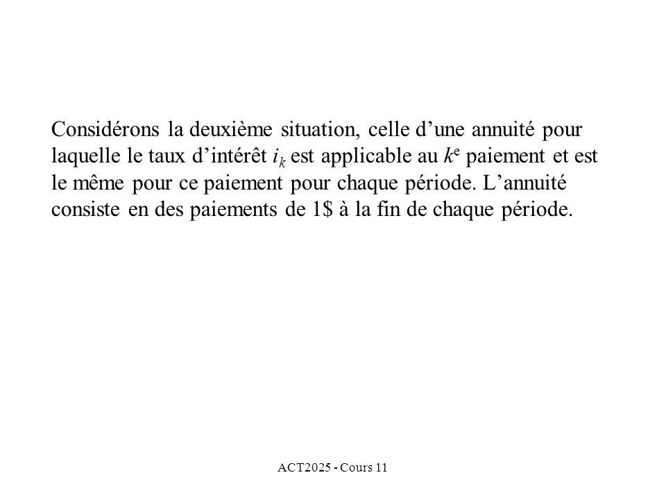 ACT2025 - Cours 11 Considérons la deuxième situation, celle dune annuité pour laquelle le taux dintérêt i k est applicable au k e paiement et est le même pour ce paiement pour chaque période.