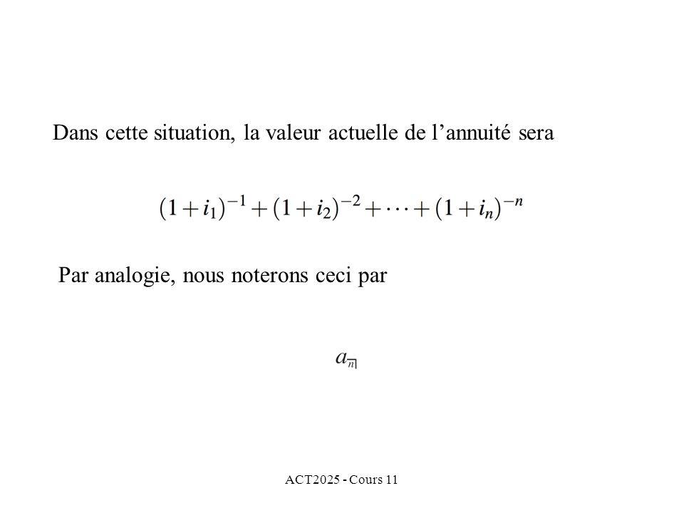 ACT2025 - Cours 11 Dans cette situation, la valeur actuelle de lannuité sera Par analogie, nous noterons ceci par