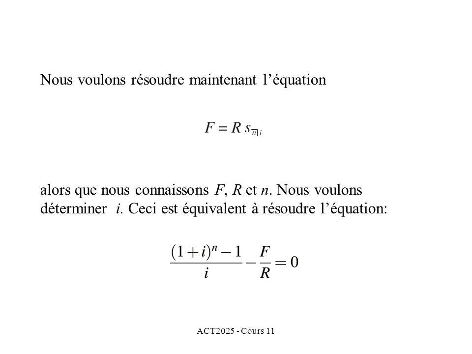 ACT2025 - Cours 11 Nous voulons résoudre maintenant léquation alors que nous connaissons F, R et n.