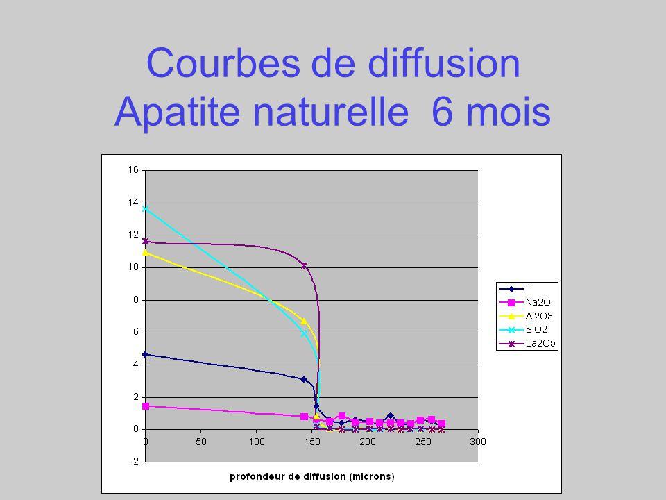 Courbes de diffusion Apatite naturelle 6 mois