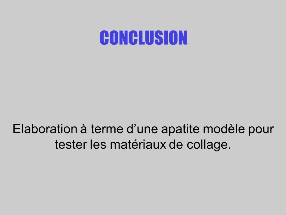 CONCLUSION Elaboration à terme dune apatite modèle pour tester les matériaux de collage.